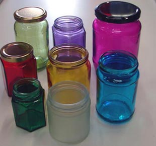 Coloured Glass Jam Jars